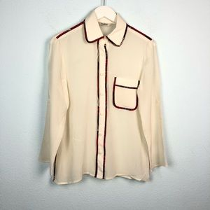 Tucker silk button down blouse with printed border